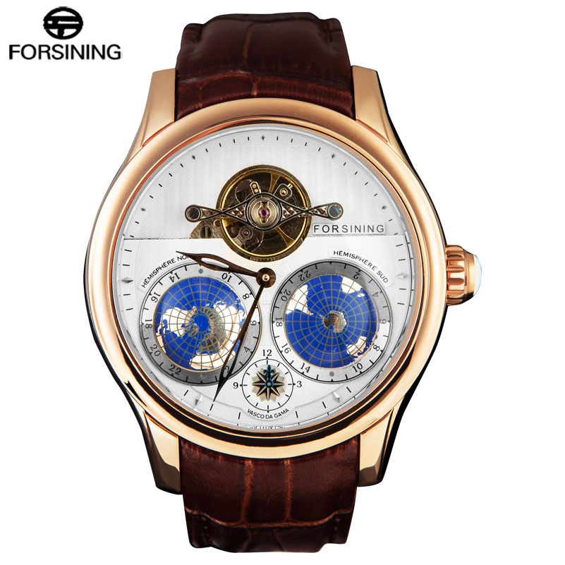 FORSINING Top Brand Business Mechanical Watches Men 30M Waterproof Tourbillon Automatic Wrist Watch 3D Earth Dial Leather Band forsining brand trendy automatic mechanical watches men skeleton dial stylish dress wristwatches with leather band