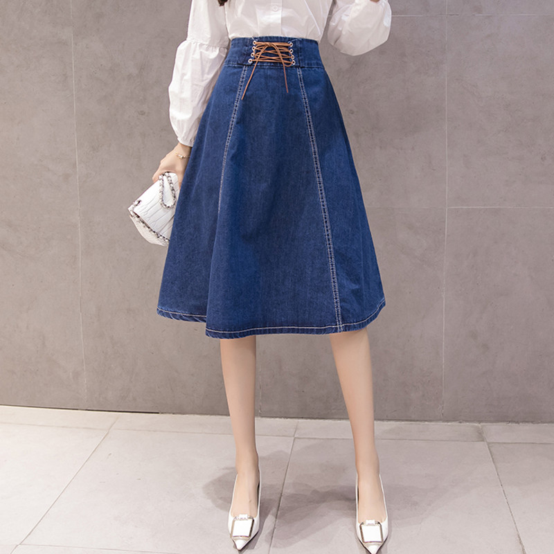 Brief Autumn Winter Skirts Women Vintage High Waist Lace Up Denim Skirts Ladies A-Line Jeans Skirts