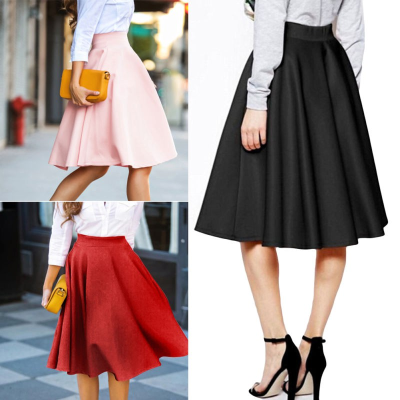 High Waist Solid Pleated Skirts Womens Casual Elgant Red Black Pink Maxi Skirt S-XL