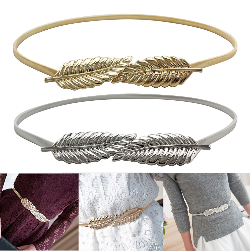 Leaves Fashion Thin Elastic Band Women Stretchy Metal Skinny Waist Belt