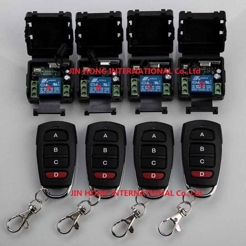 Home Automation DC12V 10A 1CH RF Wireless Remote Control Switch System teleswitch 4 *Transmitters & 4* Receiver for 8pcs/lot