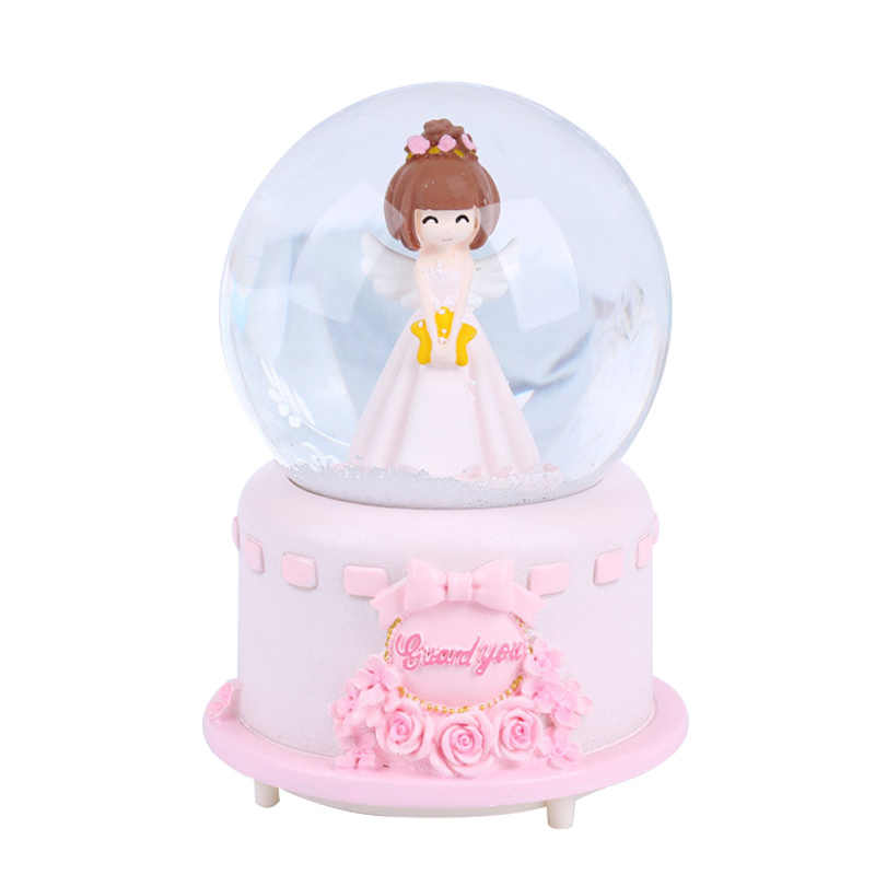 Cartoon Couple Rotating Creative Music Box Send Girl Angel Snow with Lights Large Crystal Ball Decor Children Toy Birthday Gifts