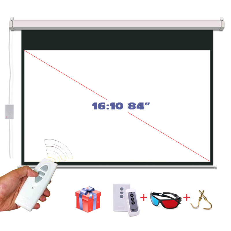 HD 84 inches 16:10 Electric Projector Screen Motorized Proyeccion 3D Projection Screens with Remote Controller 4 3 electric projector screen pantalla proyeccion for led lcd hd movie motorized projection screen 72 84 100 inches available