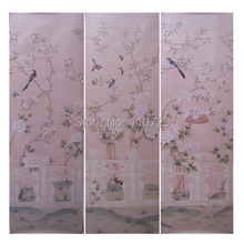 Расписанный вручную шелковый обои Картина Дерево с птицами и пиона, разрисованные вручную, с цветочным рисунком в стиле «стены бумаги много фотографий/bakckground опционально