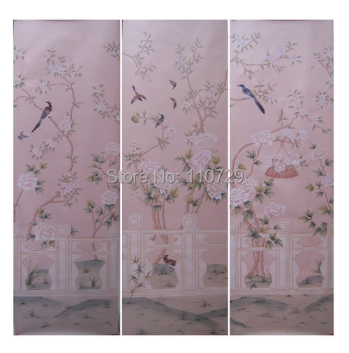 Hand painted silk wallpaper painting tree with birds and peony flower hand-painted wall paper many pictures/bakckground optional