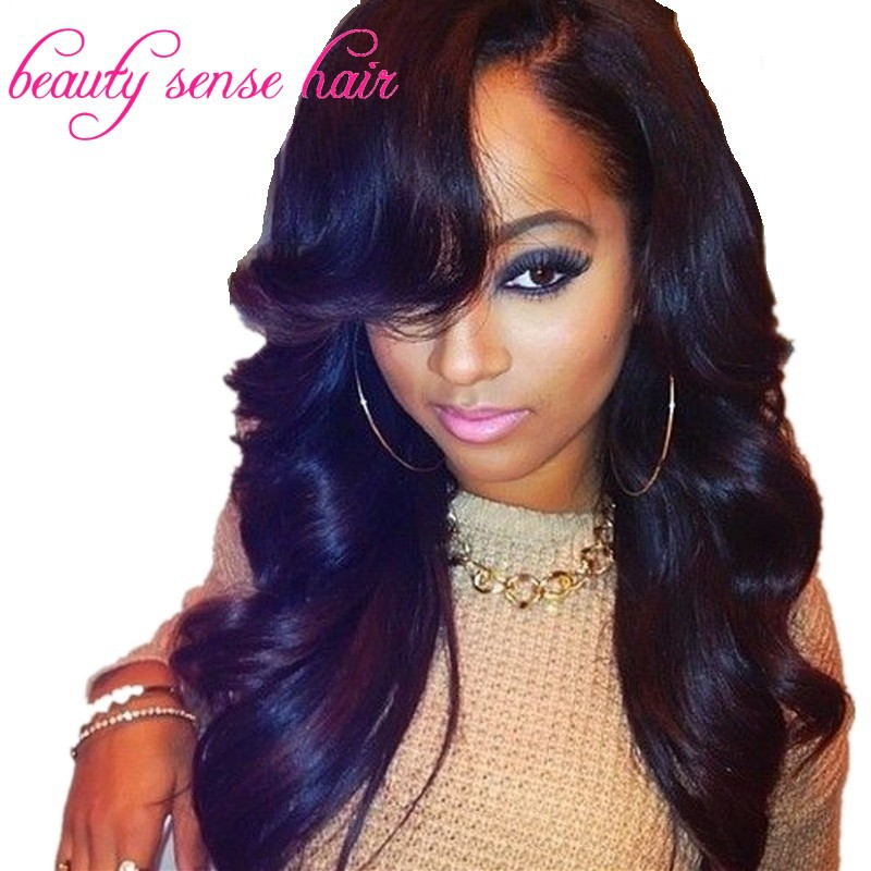 Top Ing U Part Wig With Side Bangs On Left Virgin Unprocessed 150 Density Wavy Brazilian Glueless Wigs In Human Hair Lace From