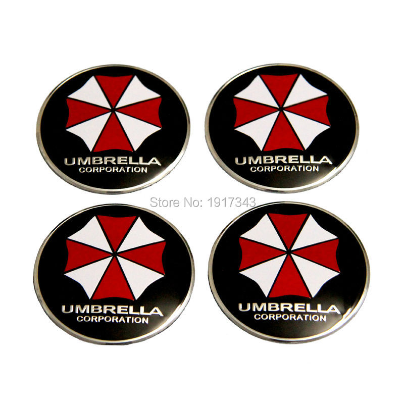 The new modified car personality brushed aluminum car stickers TRDsports metal biochemical crisis umbrella car Sticker