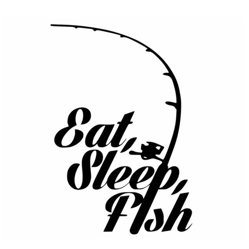 Fishing Sticker Name Fish Eat Sleep Decal Angling Hooks