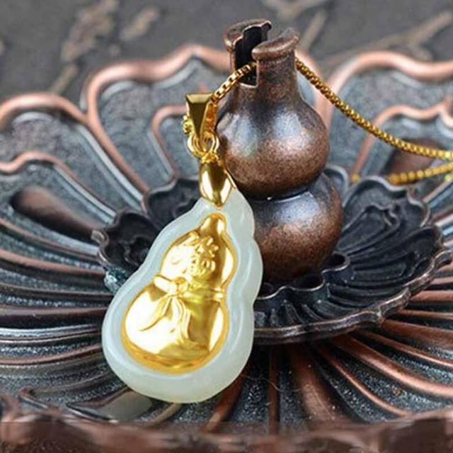 Natural White HeTian Yu 100% Pure Solid 18 K Gold inlaid Lucky Cucurbit Blessing Pendant + Necklace + Certificate Fine Jewelry 1