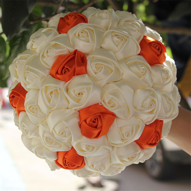 Free Shipping Ivory Orange Artificial Flowers Foam Ball Wedding Bridal Bouquets Durable Silk Throw Bouquet
