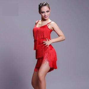 Image 3 - 2020 neue Mädchen Kinder erwachsene Moderne Ballroom Latin Dance Kleid quaste Fringe Salsa Tango Dance Tragen Schwarz Leistung Bühne Tragen
