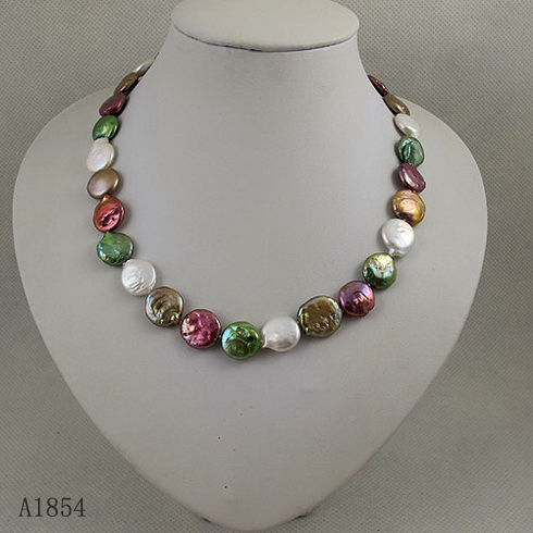 Unique Pearls jewellery Store,AA 13-14MM Coin Multicolor Freshwater Pearl Necklace,Perfect Women Wedding Birthday GiftUnique Pearls jewellery Store,AA 13-14MM Coin Multicolor Freshwater Pearl Necklace,Perfect Women Wedding Birthday Gift