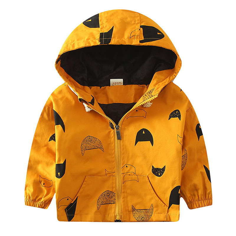 18M-6T Fashion Spring Autumn Boys Hooded Jackets Cartoon Monster & Penguin Print Outwear Good Quality Blouson Garcon CMB349 (6)