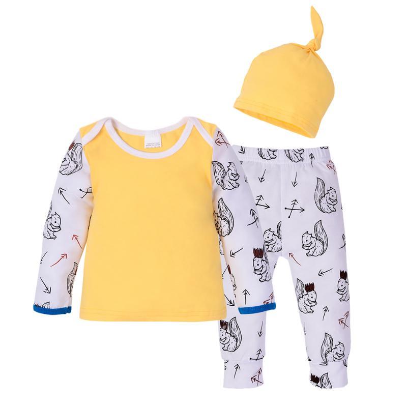 3 шт./лот новорожденный мальчик девочка стрелка животных печати милый комбинезон из мягкого хлопка Футболка + брюки + Комплект одежды с шапоч...