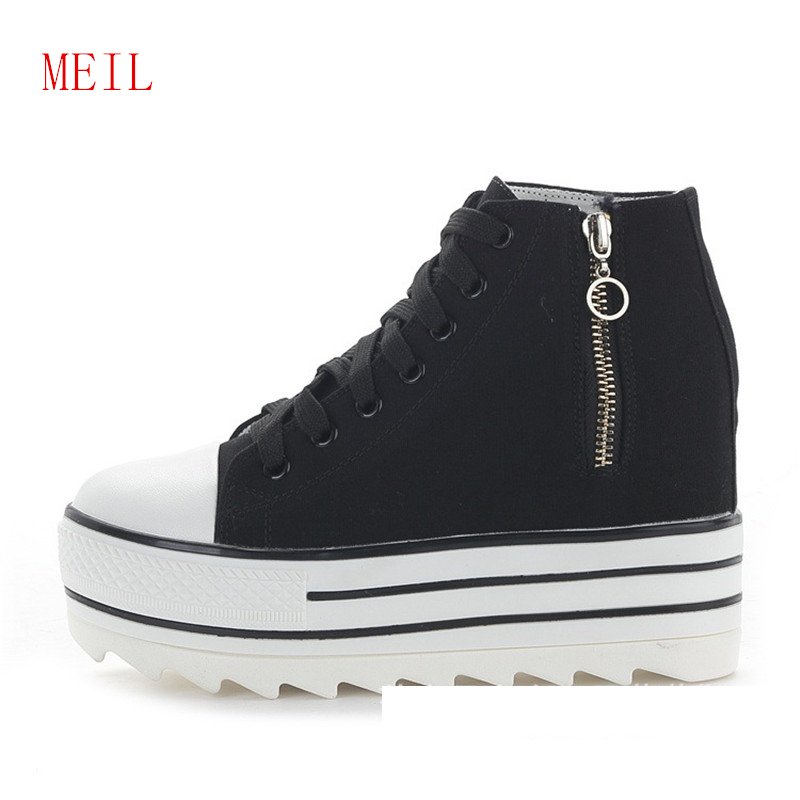 d61eccdc3e7 White Canvas Shoes Women High Heel Wedges Sneakers Side Zipper High Top  Platform Sneakers 2019 Fashion Women Casual Black Shoes