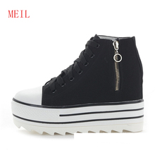 White Canvas Shoes Women High Heel Wedges Sneakers Side Zipper Top Platform 2019 Fashion Casual Black