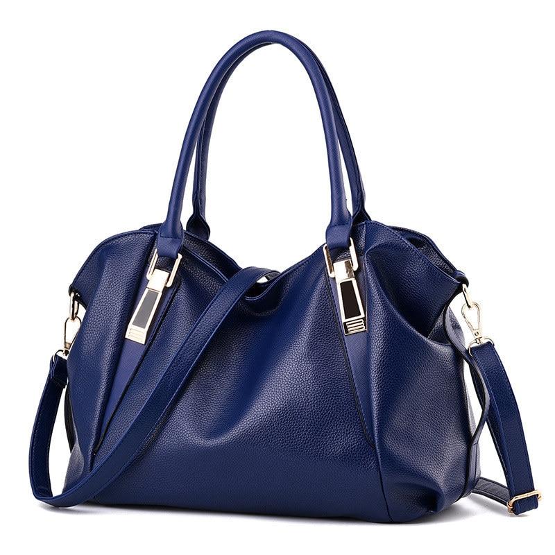 Fashion Royal Blue PU Women Handbag Cusual Office Lady Shoulder Bag Crossbody Messenger