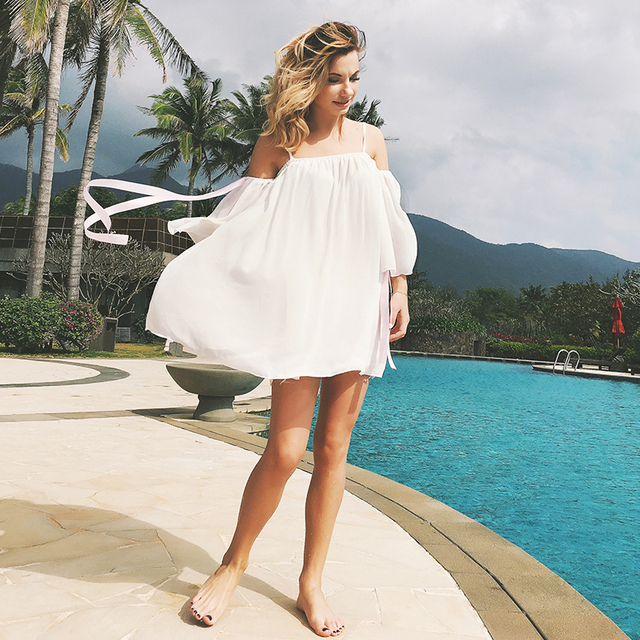 cbaa547f180 Summer Pretty Chiffon Off Shoulder Maternity Gowns Wear Vest Dress Hot  Offers White Bohemia Dress For Pregnant Clothing Photo