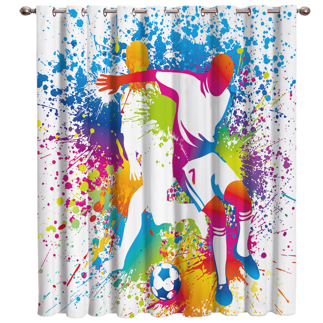 Soccer Football Game Sport Window Treatments Curtains Valance Window Curtains Dark Living Room Curtain Rod Bathroom Kitchen
