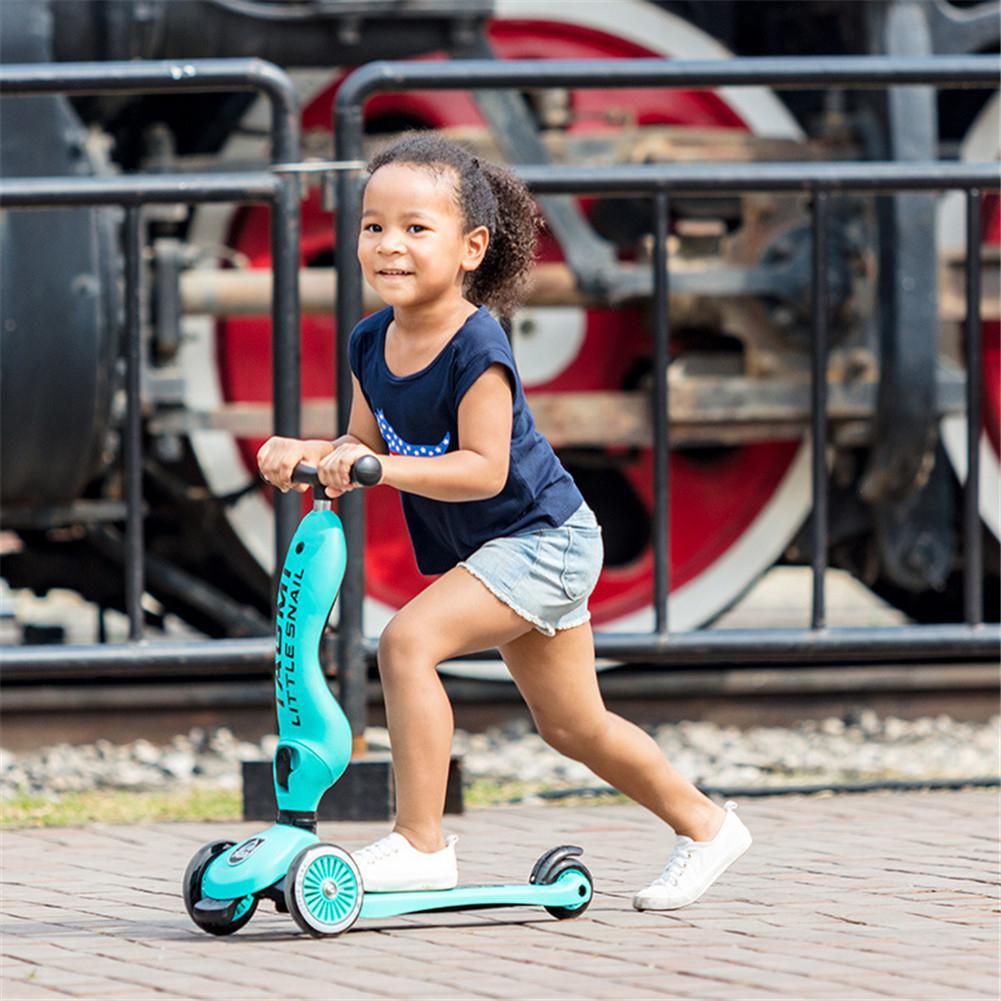 RCtown 2 in 1 sevimli Anti-rollover açık 3 tekerlekler Scooter katlanabilir çocuk denge bisikleti çocuklar için koltuk ile oyuncak kız 2-10Y