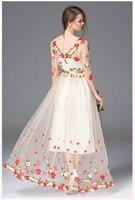 Vestidos largo primavera malla bordado sexy elegante manga tres cuartos 5