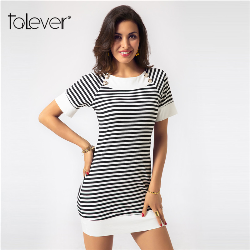 Summer Women Knitted Striped Dress Sexy Slim Mini Bodycon Dress Female Casual Plus Size Beach Party Sheath Sundress Talever canis sexy women sexy sleeveless party evening cocktail summer beach short mini dress