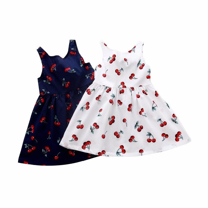 Musim panas Anak Anak Gadis Cherry Dress Anak Remaja Lengan Pola Bunga Kembali Lace Up Ikatan Simpul gaun Pernikahan &
