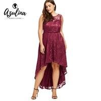 AZULINA Nowe Mody Plus Size Koronki Seksowna Sukienka Bez Rękawów Dip Hem Sukienka Jesień Zima Vestidos De Fiesta Duży Rozmiar XL-5XL