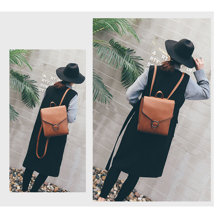 2018 mujer mochila retro femenino cuero pu mochila bolso moda rBxRq8r