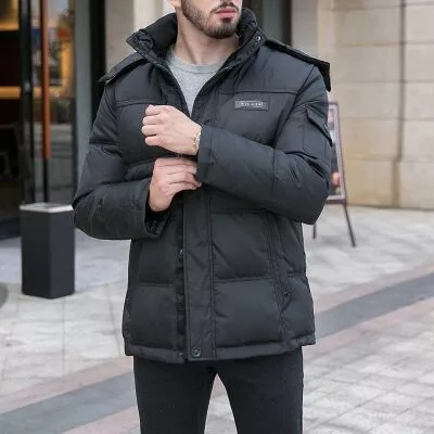 2018 Men s winter down duck jacket short paragraph thickened father loaded loose large middle - aged casual winter coat TP014