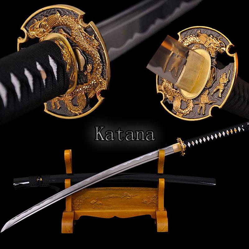 Hecho a mano japonés katana espada samurai espada Damasco acero doblado hoja de acero afilado práctica recuerdos