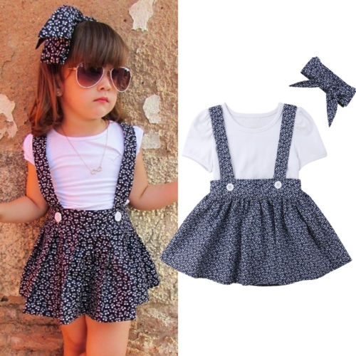 Kids Baby Girl Short Sleeve Flower Tops Denim Short Dress Skirt Party Clothes UK