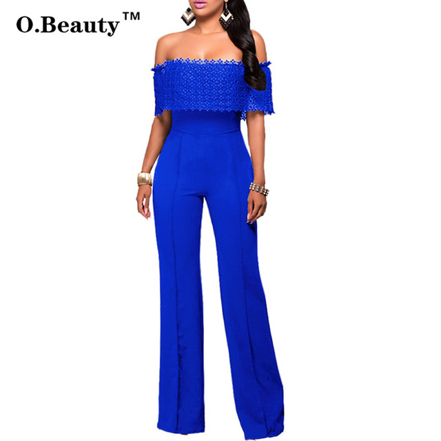 2016 Rompers Elegant Womens Bodysuit Sexy Jumpsuit Blue Off Shouder Lace Jumpsuit Outfits Long Pants Body Feminino Overalls