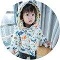 Casaco Outerwear para 0-2 T meninas Recém-nascidas do bebê e meninos quente bebes jaqueta estilo Coreano Cheio de animais Dos Desenhos Animados impressão moletom com capuz de algodão casaco