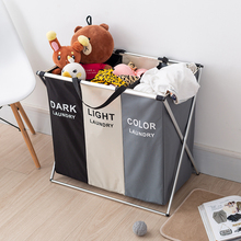 Three Grids Laundry Basket, Foldable Dirty Organizer Classification Clothes Storage Basket Large Laundry Hamper For Bathroom