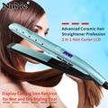 Керамический выпрямитель для волос профессиональная 2 в 1 бигуди для волос ЖК-дисплей щипцы для завивки плоское железо для влажных и сухих и...