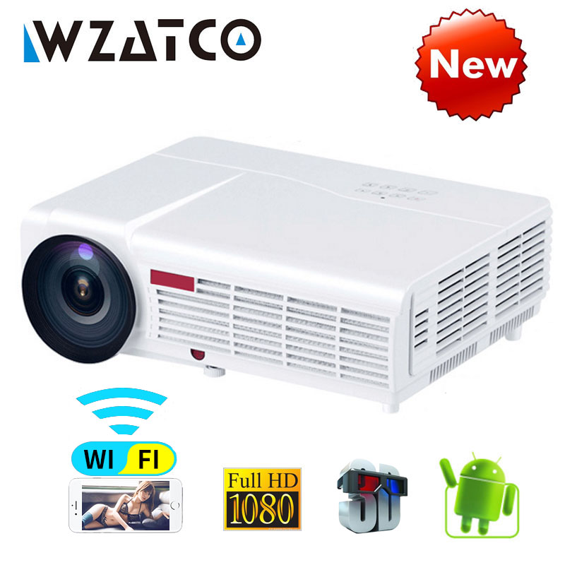 WZATCO LED96W LED 3D Projektor 5500 Lumen Android 7.1 Smart Wifi volle HD 1080 P unterstützung 4 k Online video Beamer proyector für hause