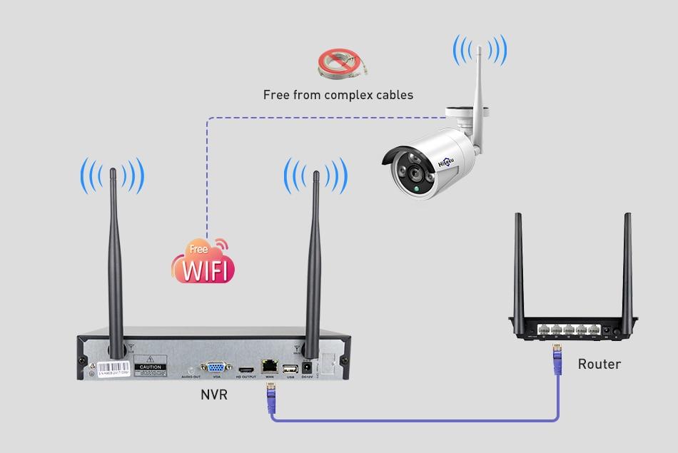 Hiseeu Wireless CCTV camera System 960P 4ch 1.3MP IP Camera waterproof outdoor P2P Home Security System video Surveillance Kits 13