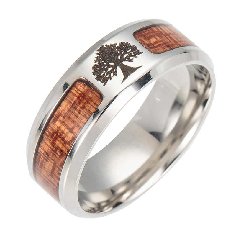 ADOMANER Stainless Steel Black Wood Rings For Men Women Unique Fashion Engagement Wedding Sports Jewelry  wholesale.