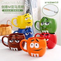 Lovely m&ms cup creative couple large capacity mark cup coffee cup expression