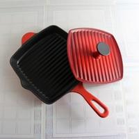 Cast iron pan raw steak fried row stripes pressure board roasting meat frying porcelain enamel pot uncoated non stick cooker