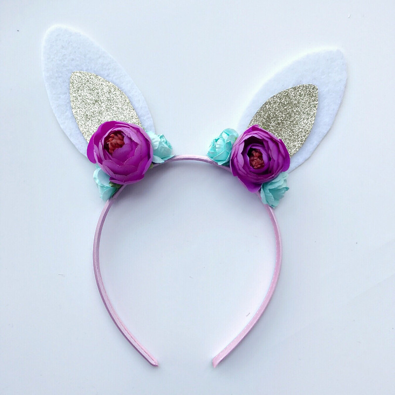 NEW cute kids rabbit ear hairbands floral Hair Hoop hair accessories for Party Birthday free shipping 2013 new fashion lace big rabbit ear hairbands womens festival party props hair bands wholesale
