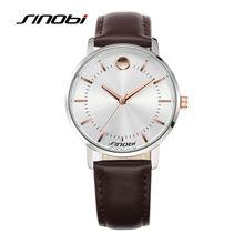 SINOBI Lujo de la Marca Los Hombres y Las Mujeres Ocasionales del Reloj de Pulsera de Cuarzo de Cuero Genuino Reloj Impermeable Elegante Relojes del Amante