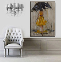 Handmade Modern Abstract Portrait Figure Knife Oil Painting on Canvas Handpainted Girl in Yellow Dress with Umbrella Art Picture