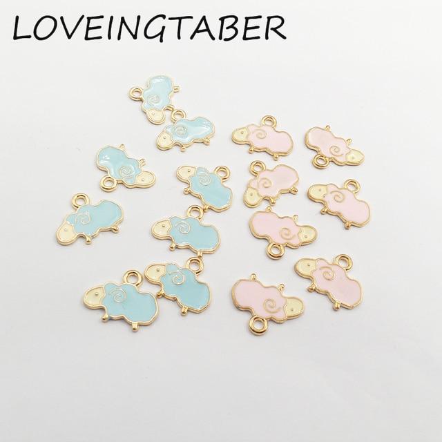 Wholesale 19mm 12mm 30pcs lot Gold Pink   Blue Sheep Enamel Small Charm  Pendants 38a65e6f3eb0