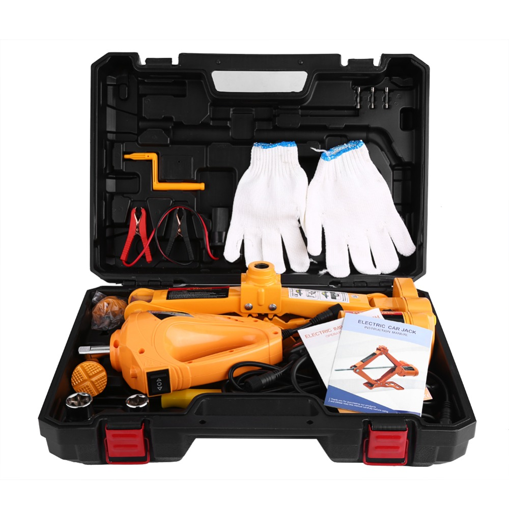 3Ton 12V DC Automotive Electric Lifting Jack Car SUV Emergency Tools w/ Impact Wrench with Gloves Socket Adapter Screwdriver Kit