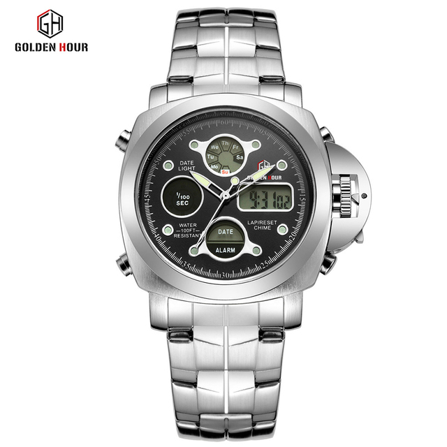 Men Luxury Electronic LED Digital And Analog Wristwatch 3