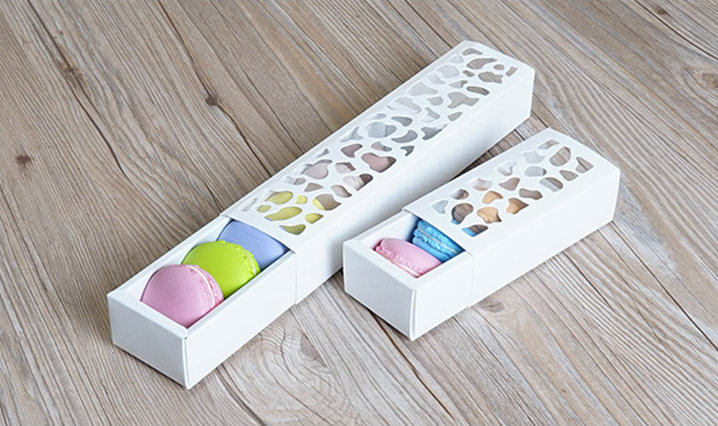 40pcs White Hollow Macarons Box Cookie Package Baking Small Cake Box For Chocolate Muffin Biscuits Luxury Wedding Party Decor