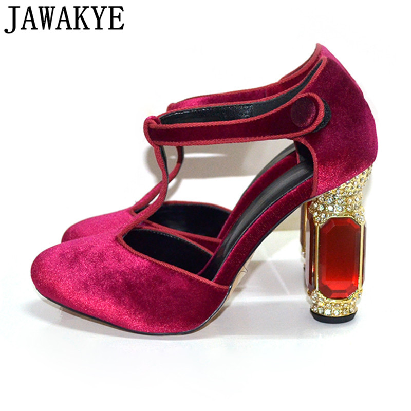 Sexy Mary Janes velvet Women Pumps rhinestone diamond High Heels Crystal decor Wedding Shoes elegent retro