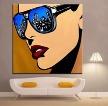 Hand painted Roy Lichtenstein Pop Art Cartoon oil paintings on canvas  Wall art Pictures for living room cuadros quadro